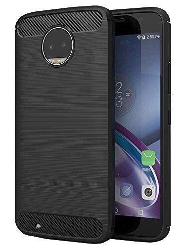 OEAGO Moto G6 Case, [Shock Resistant] Flexible Soft TPU Brushed Anti-fingerprint Protective Case Cover and Carbon Fiber Design for Motorola Moto G6 (G 6th generation) - Black