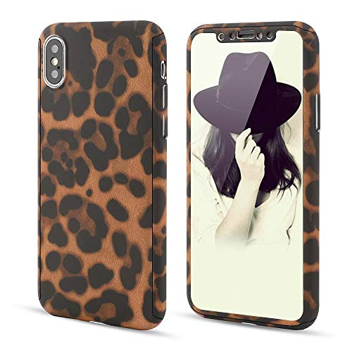 - L-FADNUT for iPhone X iPhone Xs Case, 3in1 Stylish Leopard Cheetah Print Precise-Fit Premium PC Case and Tempered Glass Screen Protector Scratch Resistant Dual Layer Protective Case Coffee