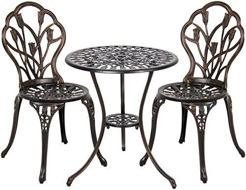 Best Choice Products 3-Piece Cast Aluminum Patio Bistro Set, Outdoor Furniture w Tulip Design, Antique Copper Finish, Rust-Resistant