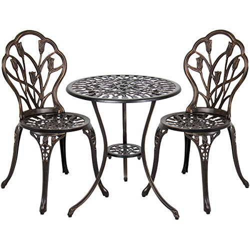 Sturdy Cast - Best Choice Products 3-Piece Cast Aluminum Patio Bistro Set, Outdoor Furniture w/ Tulip Design, Antique Copper Finish, Rust-Resistant