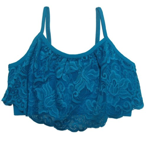 Idea Girl's Cami Bra with Lace-Turquoise