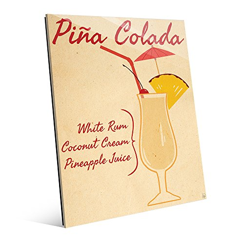 (Vintage Pina Colada Recipe Mix Graphic Illustration with Stemmed Hurricane Drink Glass Kitchen Bar Pub Wall Art Print on)