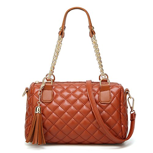 Crossbody Handbag Brown Leather Tote Red Kofun Ladies Bag Women Messenger Purse Shoulder PzwEw4q