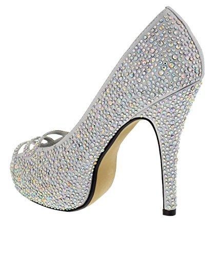 De Talon Soirée Elza Escarpin Chaussures Chaussure Mariage Silver Femme À Sandale 4CPRwaq