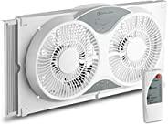 BOVADO USA Twin Window Cooling Fan with Remote Control - Electronically Reversible – Includes Bug Screen &