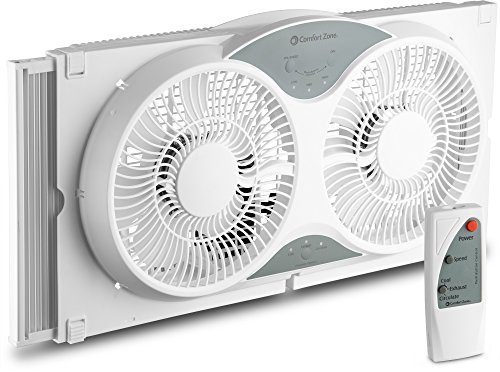 "(BOVADO USA Twin Window Cooling Fan with Remote Control - Electronically Reversible – Includes Bug Screen & Fabric Cover – Locking Extenders to fit Large Windows (Min. 23.5"" Max. 37"") by Comfort Zone)"
