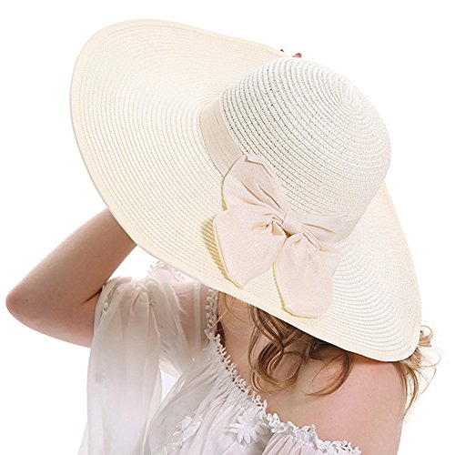 Itopfox Women's Beachwear Sun Hat Bowknot Straw Hat Floppy Big Brim Hat (Straw Derby)