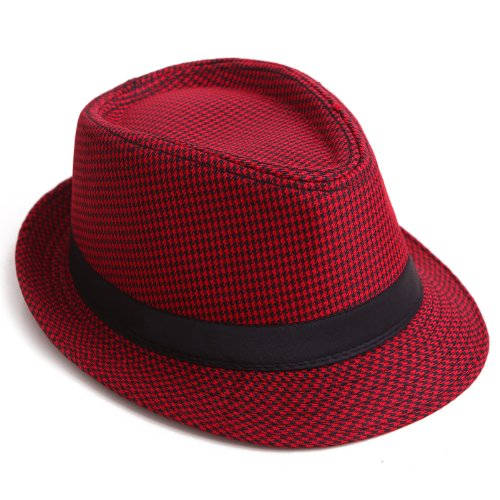 HDE Unisex Pattern Stingy Short Brim Gangster Cuban Style Fedora Hat Cap (Red Houndstooth)]()