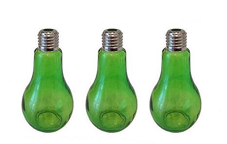 Botella decoración Botella de vidrio 3 Piezas 12 cm Alto Oro Bombilla de luz Florero de mesa Cristal florero botella Plantas Terrario bombilla Vidrio ...