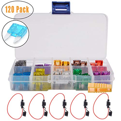 - FICBOX Blade Car Fuses Assortment Kit 120PCS Small Assorted Fuses + 5 Inline Fuse Holders Automotive Replacement Fuses for Car Truck SUV RV Boat (2A 3A 5A 7.5A 10A 15A 20A 25A 30A 35A)