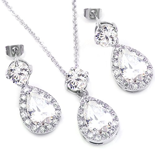 (FC JORY White Gold GP Clear CZ Crystal Teardrop Bridal Necklace Dangle Earrings Jewelry Set)
