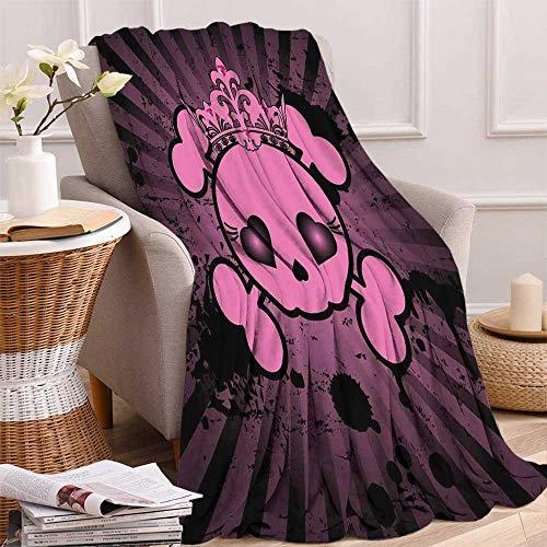 maisi Skull Digital Printing Blanket Cute Skull Illustration with Crown Dark Grunge Style Teen Spooky Halloween Print Summer Quilt Comforter 62