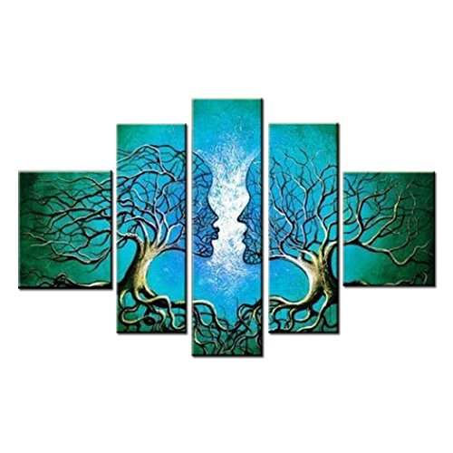 FLY SPRAY 5 Panels Modern Oil Paintings Blue Couple Trees Kiss Love Canvas Stretched Framed Hand Painted Artwork for Living Room Bedroom Office Wall Art Home Decor - Wholesale Abstract Paintings