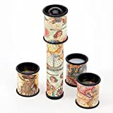 "Bits and Pieces - Old Map Kaleidoscope - Multiple Lenses and Map Accents - Unique Gift - Measures 7"" long"