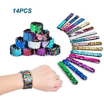 Moon Wood 24 Pack Mermaid Slap Bracelet Two-Color Reversible Sequin Bracelet Magic Flip Wristband Bracelet Party Favors for Boys Girls Birthday Gift Classroom Prizes