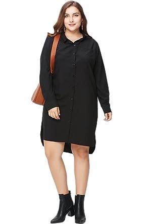 Cokar Womens Shirt Dresses Black Casual Loose Long Sleeve Plus Size