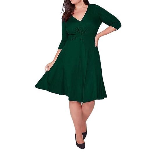 Women s Plus Size Dress Casual Three Quarter Sleeve V-Neck Plain Loose T- Shirt f38be7ff25ec