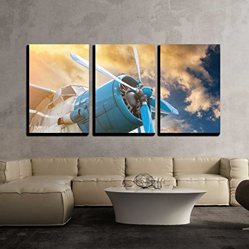 Plane with Propeller on Beautiful Bright Sunset Sky Background x3 Panels