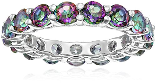 Sterling Silver and Mystic Topaz Eternity Ring, Size 7