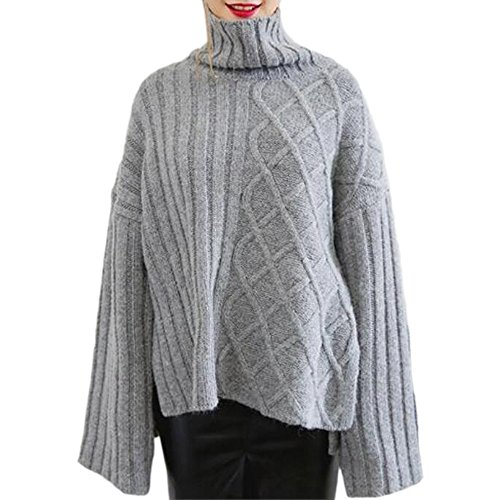 ダマン暖かいニット セーター タートルネックのセーター側の分割トップス長袖冬セーター