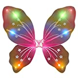Light Up Rainbow Fairy Butterfly Wings LED Halloween Costume for Trick or Treating and Night Time Safely