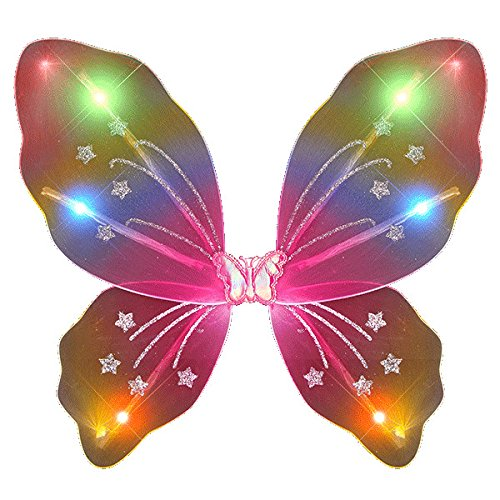 (Light Up Rainbow Fairy Butterfly Wings LED Halloween Costume for Trick or Treating and Night Time Safely)