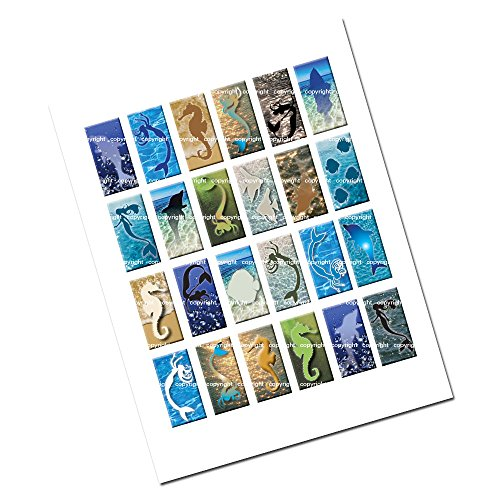 1 x 2 inch Sea Life Water Collage Sheet Rectangles with Mermaid Images for Jewelry Making Scrapbooking and More