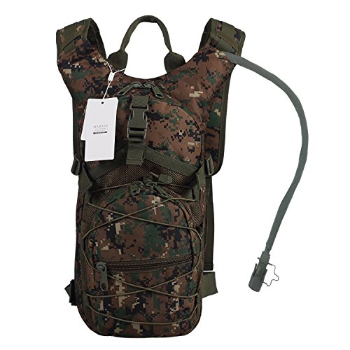 Digital Hydration Pack - Seamand Hydration Backpack with 3L Water Bladder for Hiking and Climbing (Digital Camo)