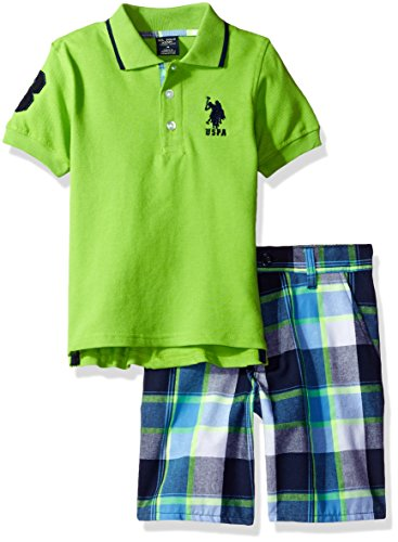 U.S. Polo Assn. Little Boys' Embellished Pique Polo Shirt Short, Plaid, 5/6