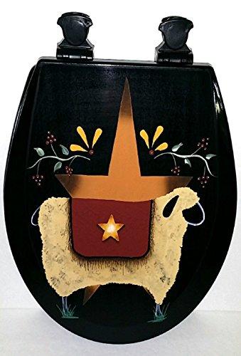 Primitive Country Decor Hand Painted Folk Sheep Star Black E