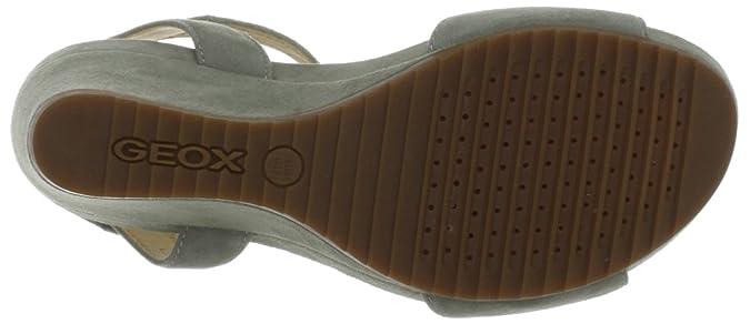 Geox New Roxy Sommer elegante Damen Keil Sandale in sage eGaQT