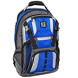 Ful Hexar Padded Laptop Backpack, fits up to 17-Inch Laptop, with Tablet/eReader Sleeve, Blue