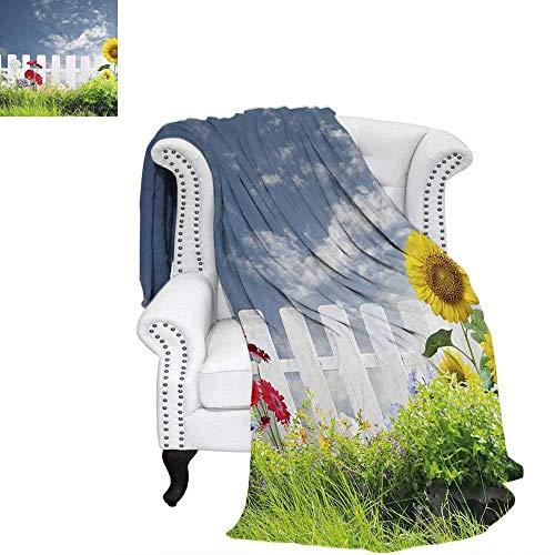 CHASOEA Rustic Custom Design Cozy Flannel Blanket Grass Foliage Field with Sunflowers Daisy Hedge Fence Yard Jardin Nature Art Blanket 90