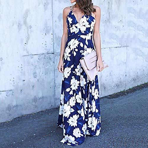 Maxi Vestido Mujer JIZHI Blue Floral L Vaina PqEqwxI