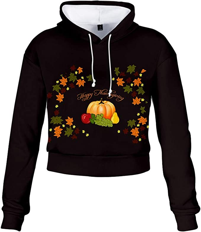 SADUORHAPPY Women Lip Print Sweatshirt Long Sleeve Blouse Pocket Pullover Hooded Tunic Tops
