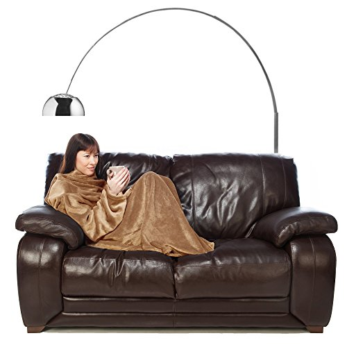 Fleece Blanket with Sleeves Adult Throw for Women and Men Beige Latte Colour