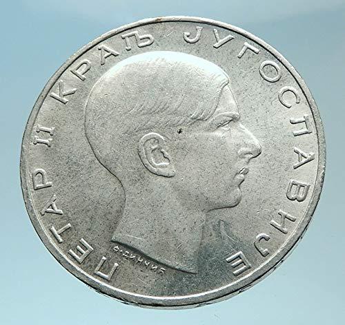 1938 unknown 1938 YUGOSLAVIA King Peter II Crowned Aquila Genu coin Good Uncertified