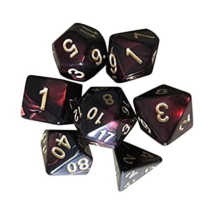 Kinspinner 7Pcs Set Trpg Game Dungeons And Dragons Polyhedral D4 D20 Multi Sided Acrylic Polyhedral Dice E