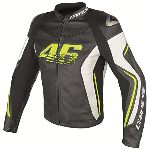 Dainese VR46 D2 Rossi Leather Jacket Black/White/Fluo Yellow 44 Euro/34 USA ()