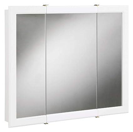 Cosmic Furniture Bathroom Entryway Tri View Medicine Cabinet Mirror Durable  White Gloss Finish Dual Shelf