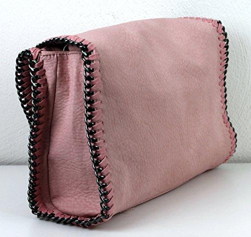 Da Vivien Leder Limited Grigio colors Con Rosa struktur Borsa Catena Rosa Jeans Donna Effetto In Nero Pelle wZrtZqEy