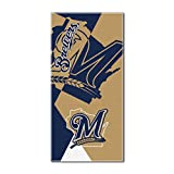 "Officially Licensed MLB Milwaukee Brewers Puzzle Beach Towel, 34"" x 72"""