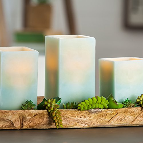 CEDAR HOME Battery Operated Flameless LED Wax Square Pillar Candle with Remote, Set of 3, Antique Teal by CEDAR HOME (Image #2)