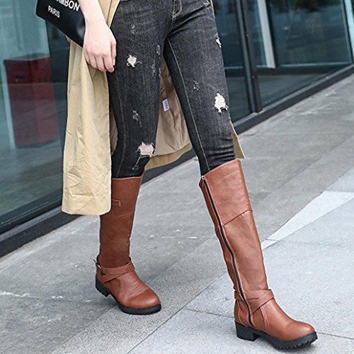9 Shoes US Women Knight Ladies Buckle NXDA Brown Faux Leather Black Boots Flat Martin vSqxPz