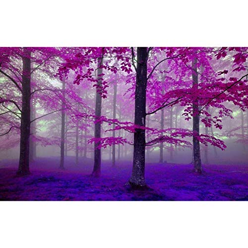 CoURTerzsl Beautiful Purple Forest Canvas Painting Poster Wall Picture Living Room Decor 21 * 30cm