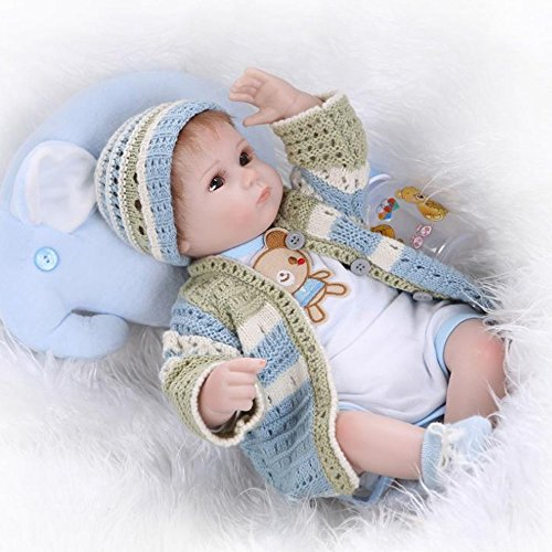 Realistic Reborn Baby Doll Girl Newborn Blue Outfit Bear Pattern 16 inches by Yesteria