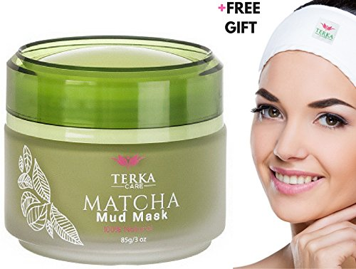 Matcha Green Tea Facial Mud Mask with Headband by Terka Care