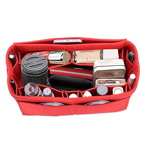 Felt Insert Bag Organizer Bag in Bag for Handbag Purse Organizer  Lmieson Multi Pocket Insert In Bag fit with Tote & Handbag, Speedy 35 and Neverfull MM, Red (Large)
