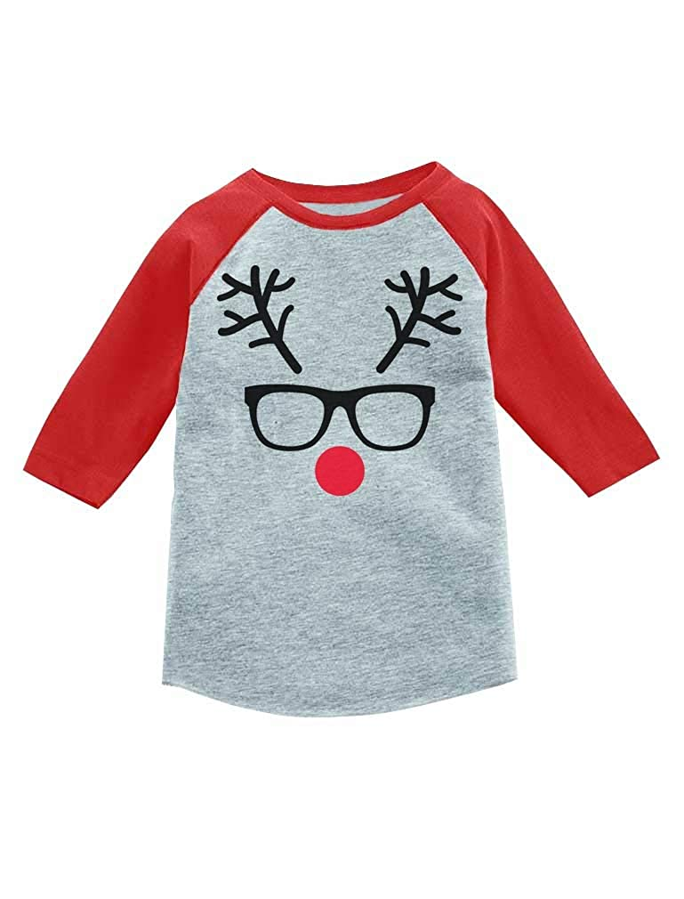 Tstars Christmas Reindeer Cute Geek Face 3/4 Sleeve Baseball Jersey Toddler Shirt GaMPaaMgm8