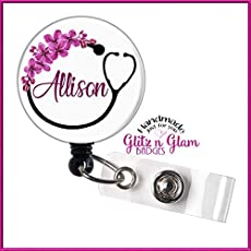 Personalized Name Badge Reel GG4436 Nurse Badge Holder Retractable ID Reel Retractable Badge Holder Reel Flower Nurse Badge Reel